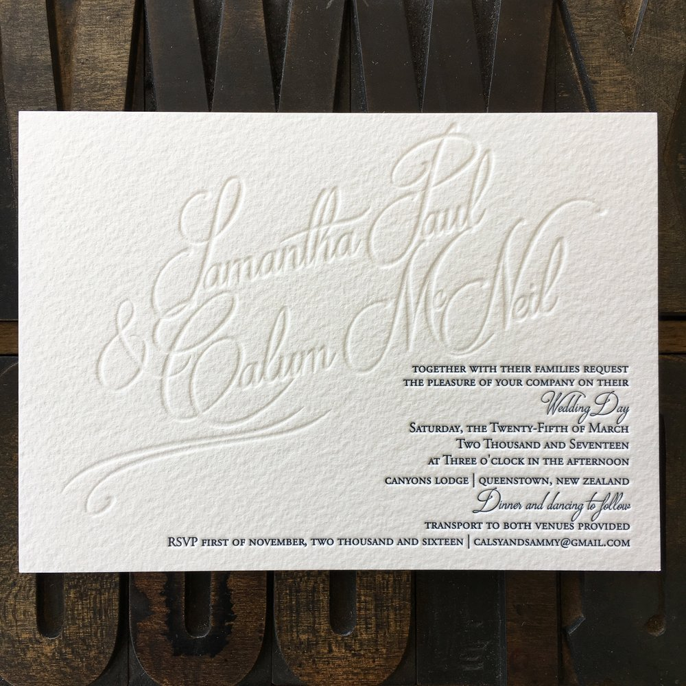 Samantha & Calum, one colour + blind letterpress print on 500gsm