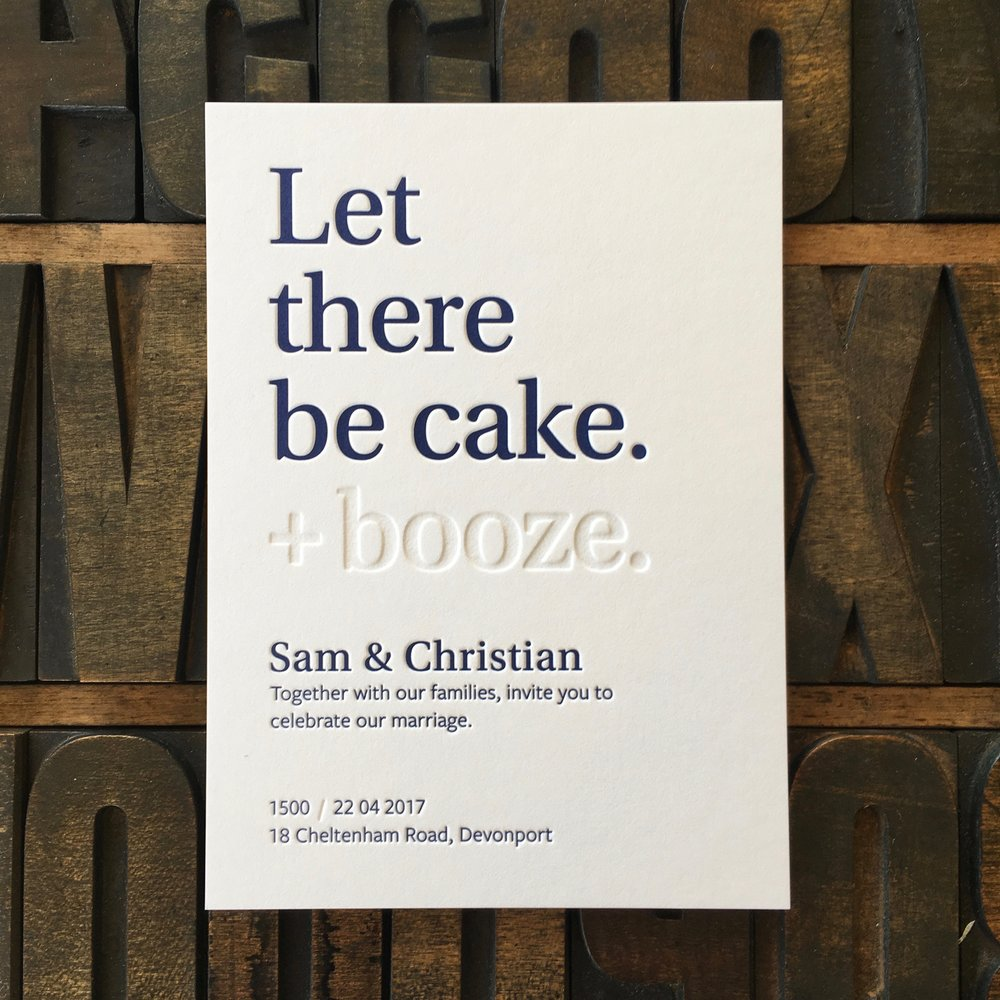 Sam & Christian, one colour + blind letterpress print on 600gsm white cotton