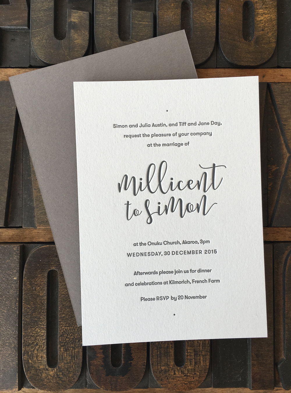 Millicent & Simon, one colour letterpress print on 540gsm pale grey/dark grey duplex
