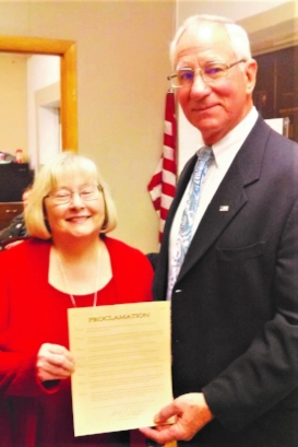 Benld Proclamation with John Fassero and Nancy Grandone  Photo courtesy of Coal Country Times