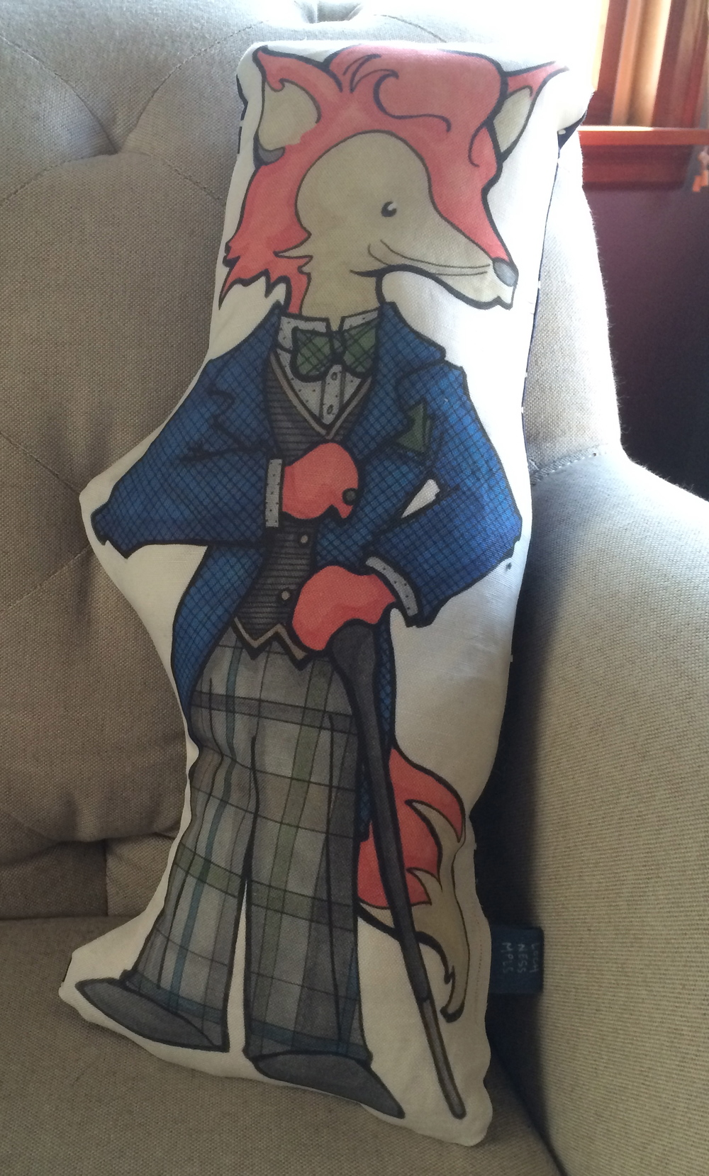 Fine and Dandy asked if I had any dandy-themed pillows in the works. I figured it was about time, and came up with this Fox!