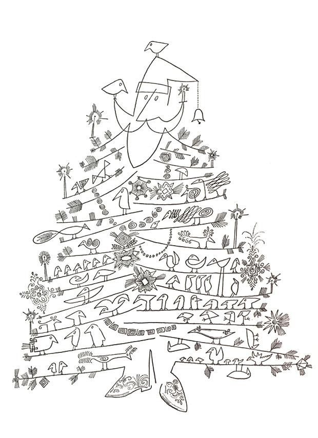 """""""Santa Claus as Christmas Tree"""" by Saul Steinberg, c. 1949"""