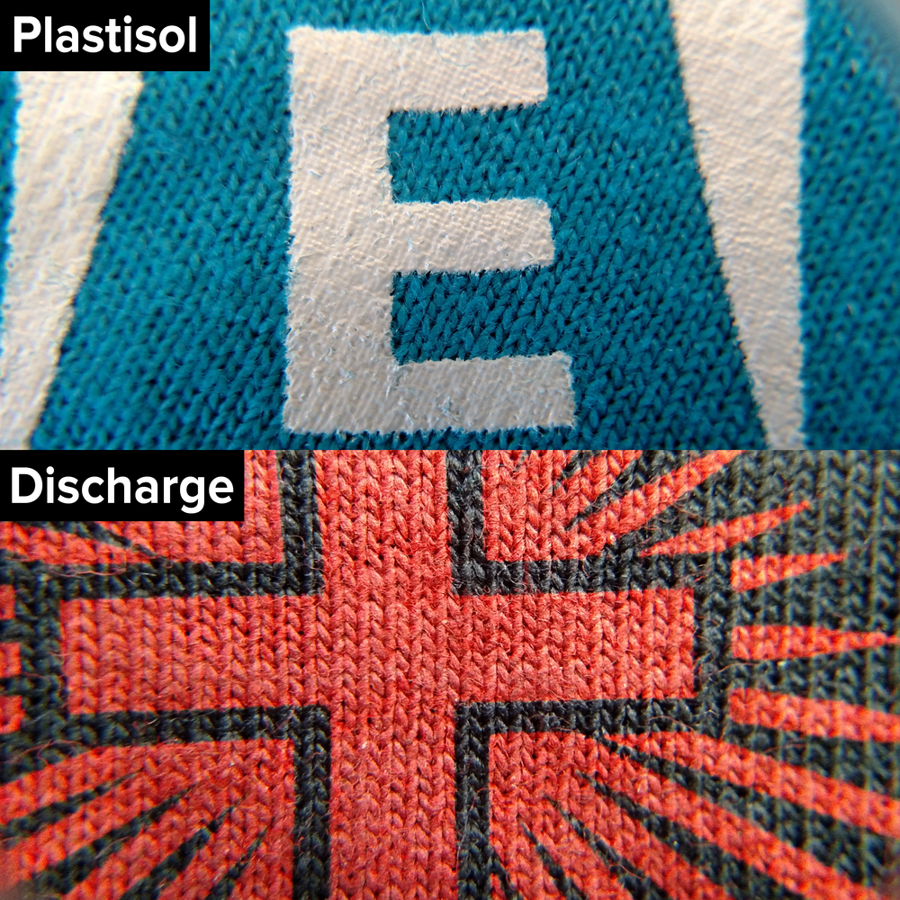 Plastisol ink lays on top while discharge ink dyes the shirt causing it to feel soft.