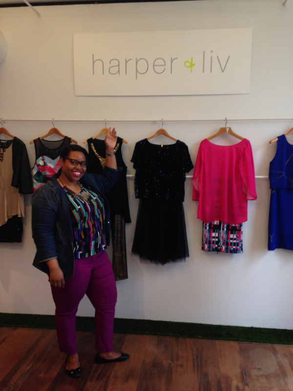 Me with my best Price Is Right impression showing off the Fall Collection from Harper + Liv