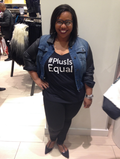 My outfit for the festivities. Lane Bryant  #PlusIsEqual  Tee with  Distressed  Jeans,  Halogen  Flats, and my oldie but goodie Ashley Stewart Jean Jacket.