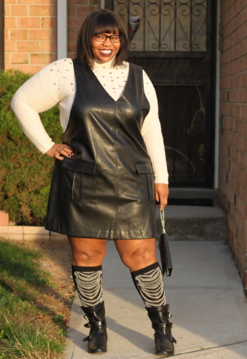 Rocking a Lane Bryant Embellished Sweater with a Forever 21+ Faux Leather Dress