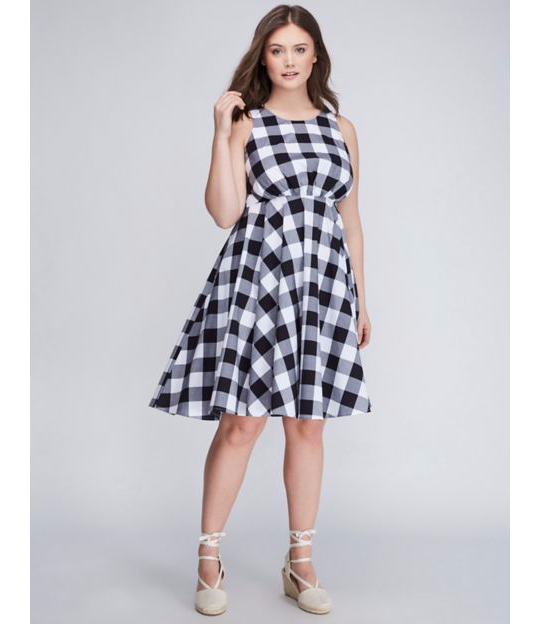 Lane Bryant Fit & Flare Gingham Dress