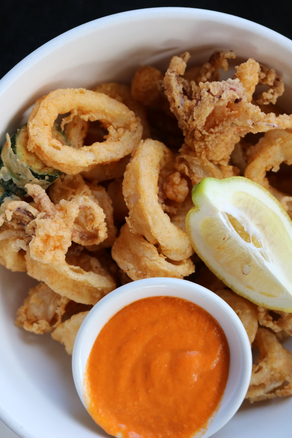 Calamari with the Romesco Sauce from Vinateria.