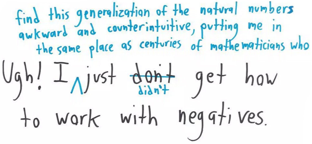 How to edit your pessimism when first encountering negative numbers, via Math with bad drawings