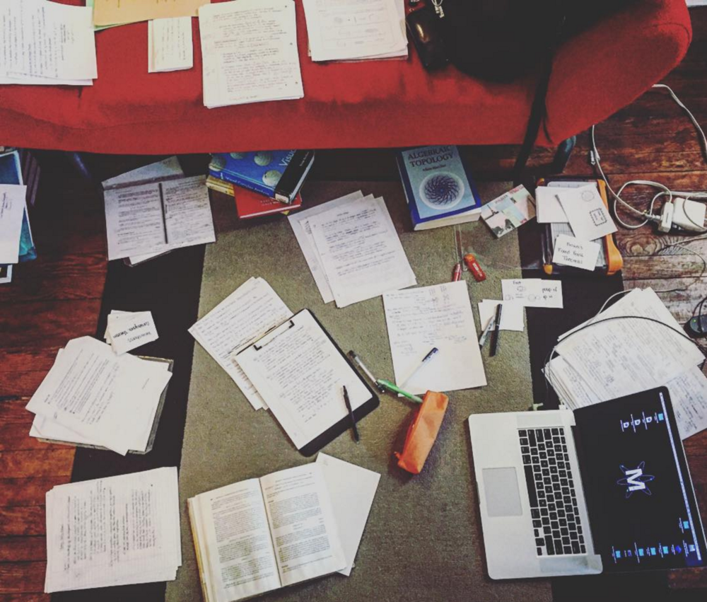 This is my typical study environment. (Because Who needs a desk when you've got the floor?)