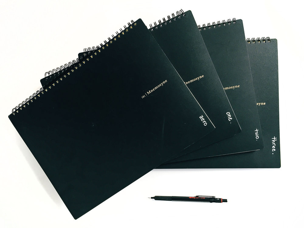 "These are My favorite notebooks, along with my favorite pencil. I write in notebook number ""zero"" during seminars and meetings. And my more carefully written day-to-day notes are kept in notebooks ""one,"" ""two"" and ""three."""