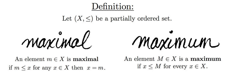 Maximal maximum math3ma an element is a maximum if it is larger than every single element in the set whereas an element is maximal if it is not smaller than ccuart Gallery
