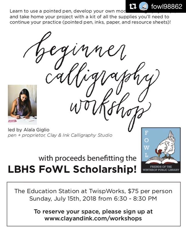 Hey! Join me in the beautiful Methow Valley this weekend for a calligraphy workshop to benefit the local high school scholarship fund, sponsored by @fowl98862 (the cutest town library you ever did see)! #clayandink #moderncalligraphy #repost ・・・ Modern Calligraphy in the Methow! . Sunday, July 15th spend an evening learning the basics while supporting @fowl98862's scholarships. . Look for posters up around town and more info on our website.