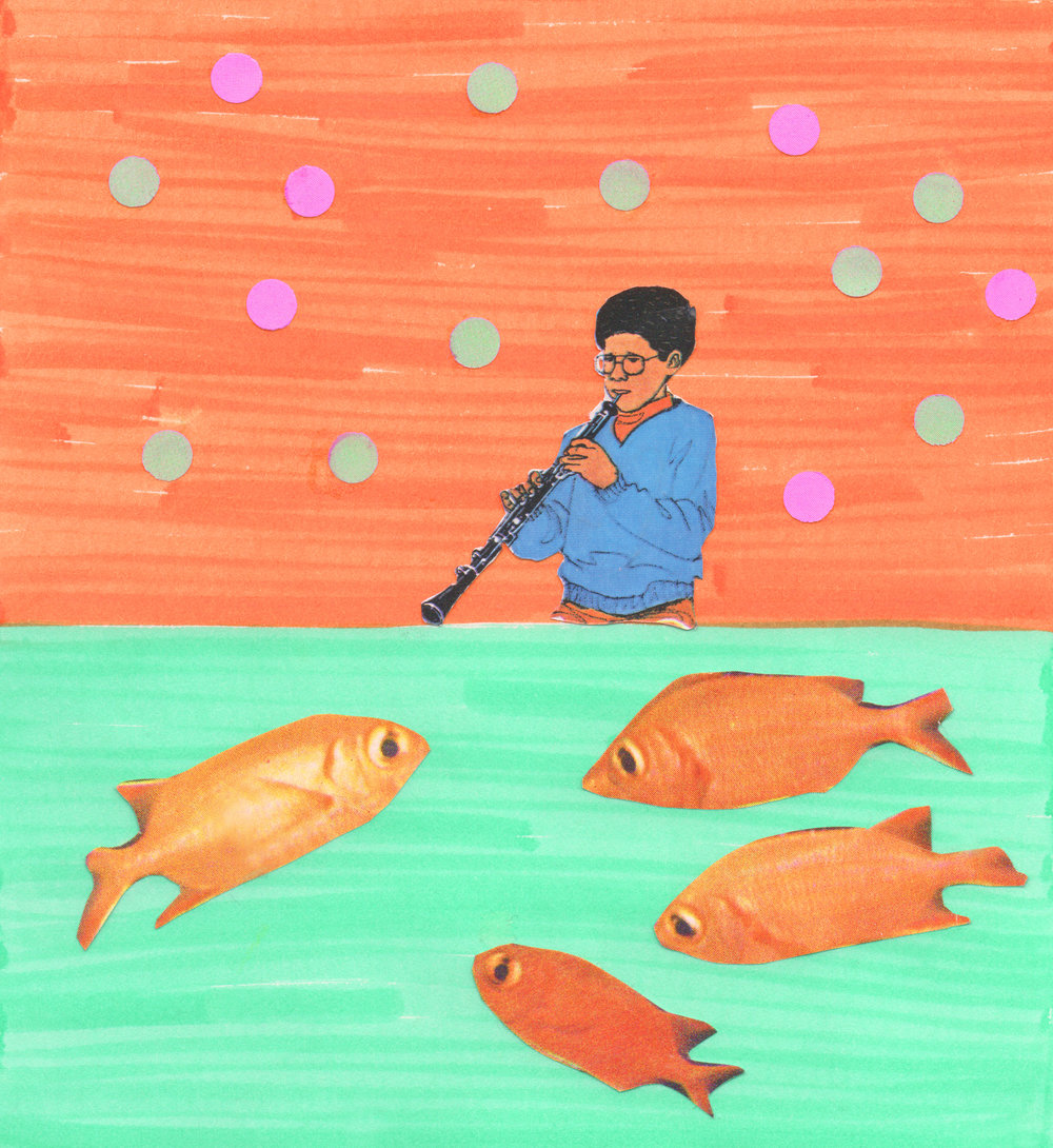Fish Flute   2019  Collage  5.5 x 5.5 inches