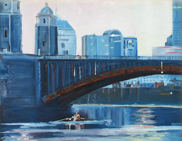 Sculler at the Longfellow Bridge