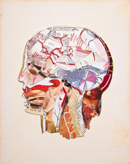"Amy Orr, Bob's Brain, plastic card mosaic, (private commission), 7""x 9.5"", 2010"