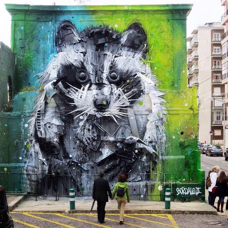 Street art in Lisbon by artist Bordalo II