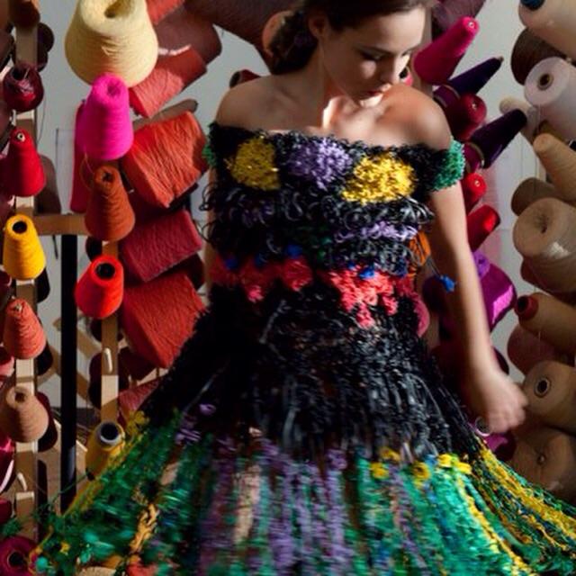 NY architect Margarita Mileva designed this dress using 14,235 discarded rubber bands.