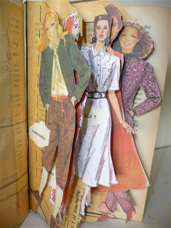 Altered book by Sandra Pearce using old sewing patterns.