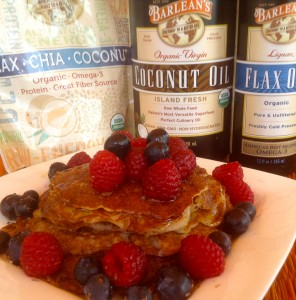 coconut, flax, maple pancakes