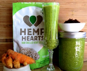 green smoothie with omega rich hemp hearts