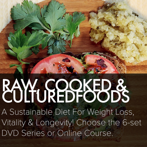 RAW, COOKED & CULTURED FOODS  A sustainable diet for weight loss, vitality, and longevity! Choose the 6- set DVD series or online course.