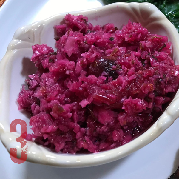 Cranberry Cultured Veggies - This recipe is not just for the holidays, it is delicious (and good for you) any time of the year!. Cranberries, purple cabbage, jalapeños, ginger and onions join together for a seriously sweet and spicy dish. This is very easy to make and you can learn all about it in my Cultured Veggies Course.