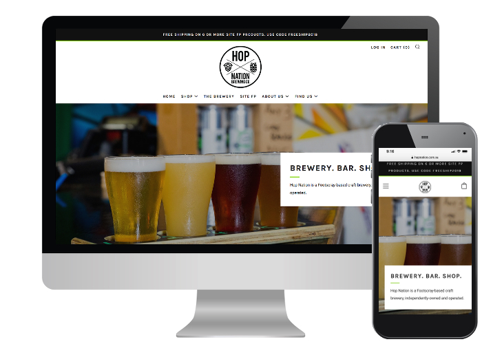 Hop Nation Brewing Co. - Hop Nation is an inner city craft brewery with an industrial feel offering beers brewed on site, a bar and now an online store. Their images did most of the talking, we just needed to showcase the products & venue which we think we have done!Built on: Shopify