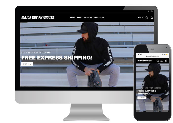 Major Key Physiques - The demographic of the customers for MKP is the under 30's so it was very important that the design focus to mainly be on mobile view, but it also needed to look great on a laptop. We think we succeeded!Built on: Shopify