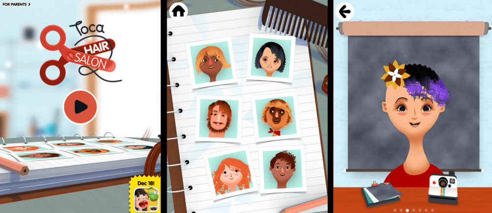 Screenshots from Toca Hair Salon