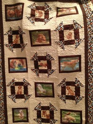 Arlene Krulewich of Arlene's Quilts was the maker of a lovely quilt that was auctioned off at the GRRNT Thankful For Goldens Picnic in 2014.   Click here to visit her website.