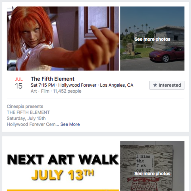 Facebook events   Gaining inspiration from grouping content by days, this could make it easier to see when tv shows are airing.