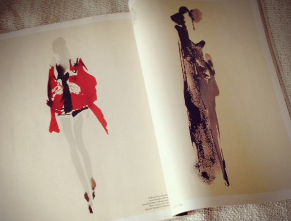 Image by  Kelly Chang , the article in UK Vogue reporting the series of sketches by Aurore de La Morinerie for John Galliano