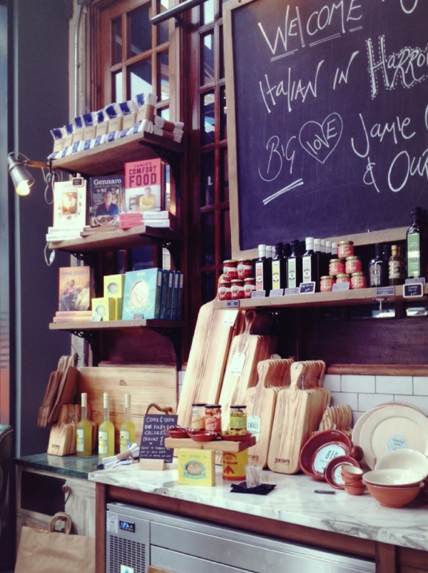 Image by  Kelly Chang , entrance of Jamie's Italian in Harrogate, selling Jamie's own products