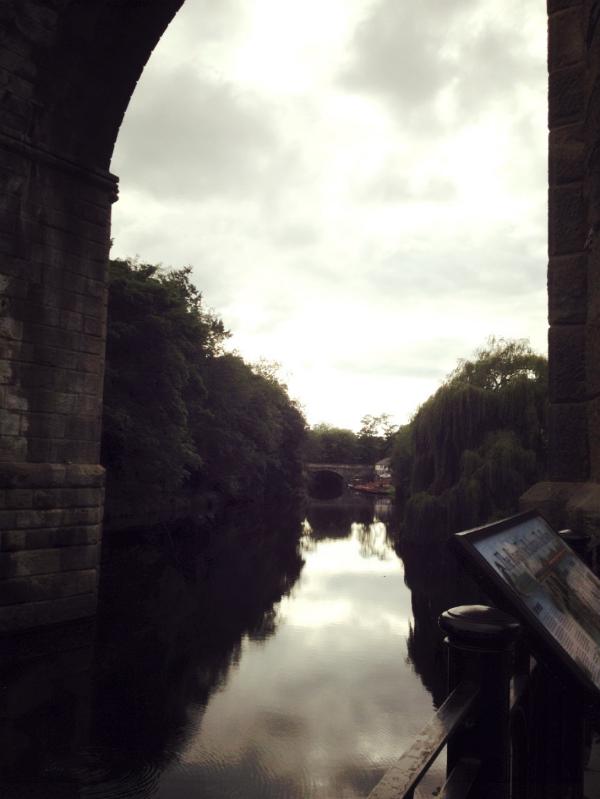 Image by  Kelly Chang , Railway Bridge and reflections of trees along River Nidd, Knaresborough