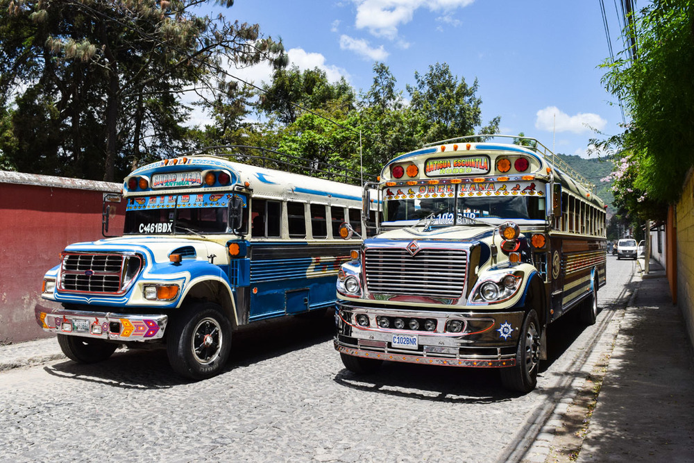 The chicken buses in and around Antigua, Guatemala, are some of the best in Central America.