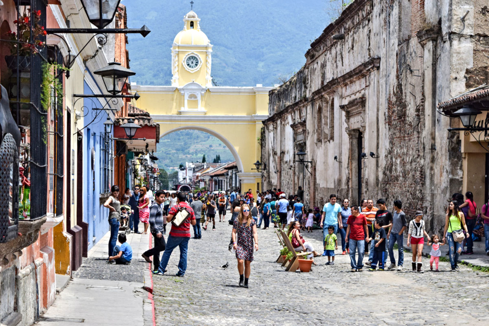 Pedestrianised Avenida 5a Norte is the heart of the action in Antigua Guatemala