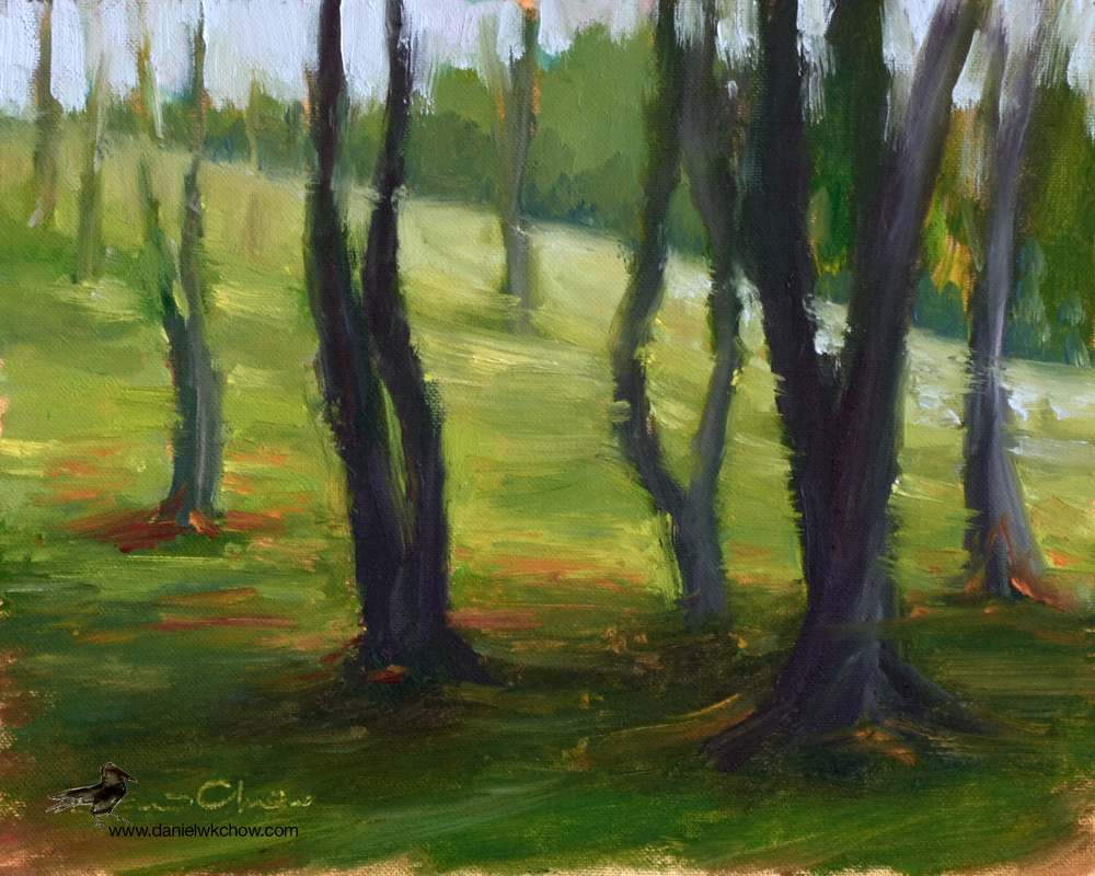 Cogitating Trees. Oil on cotton, 8 by 10 inches.