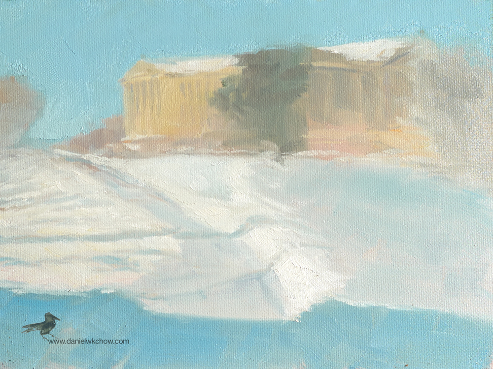 Philadelphia Museum of Art (Schuylkill River Trail). Oil on cotton, 6 by 8 inches.