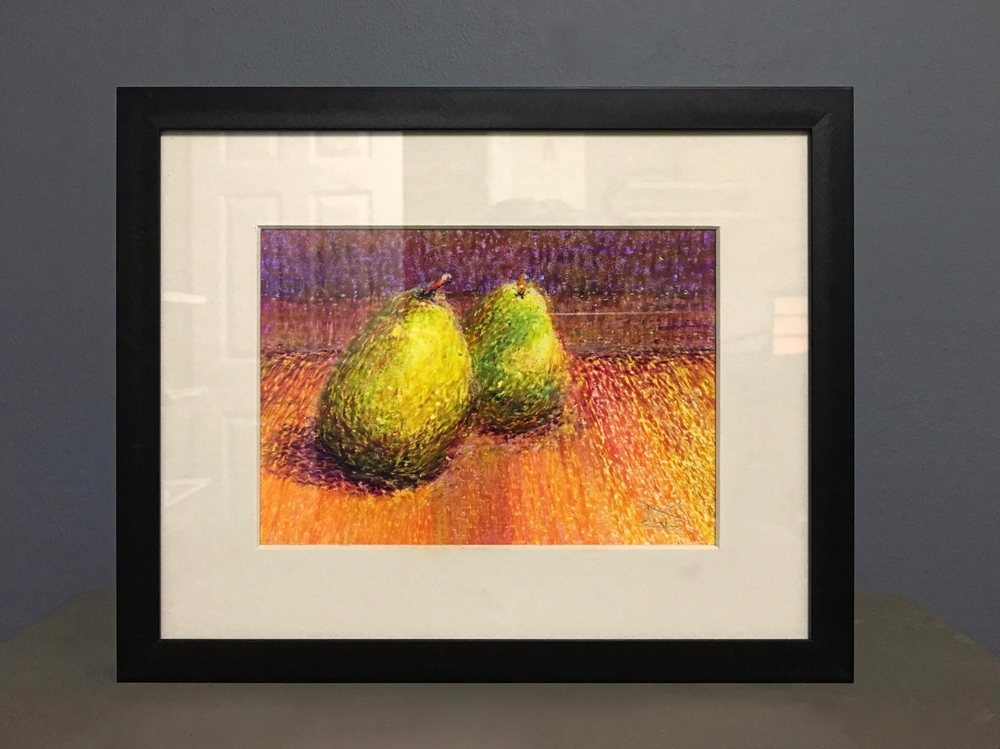 Still life in crayon. Sold. Proceeds donated to the Oxford Arts Alliance.