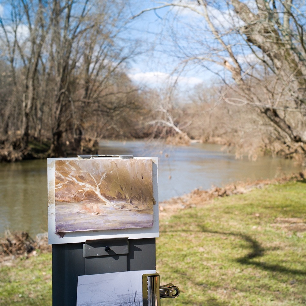 Painting by Daniel Chow. Brandywine River. Oil on panel, 5 by 7 inches. Photo by Daniel Chow