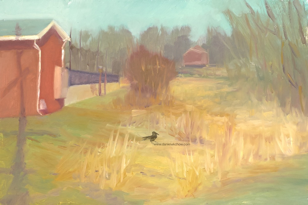 The Pump House and the wetland (Kennett Square). Oil on panel, 8 x 12 inches.