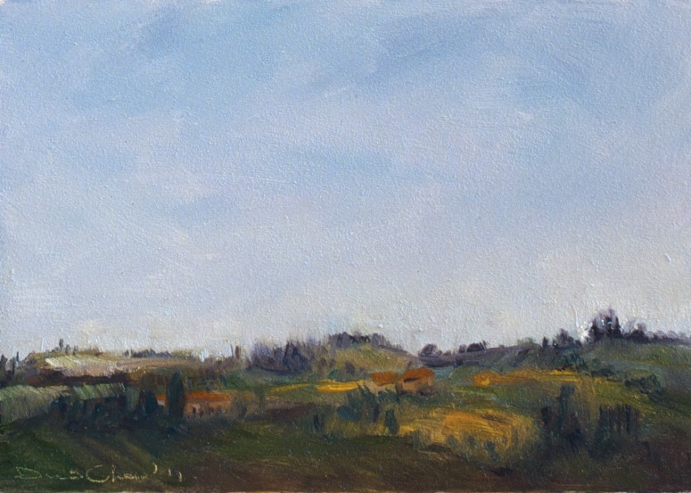 Coriano Landscape I, 2011.  7 by 5 inches oil on linen over panel.