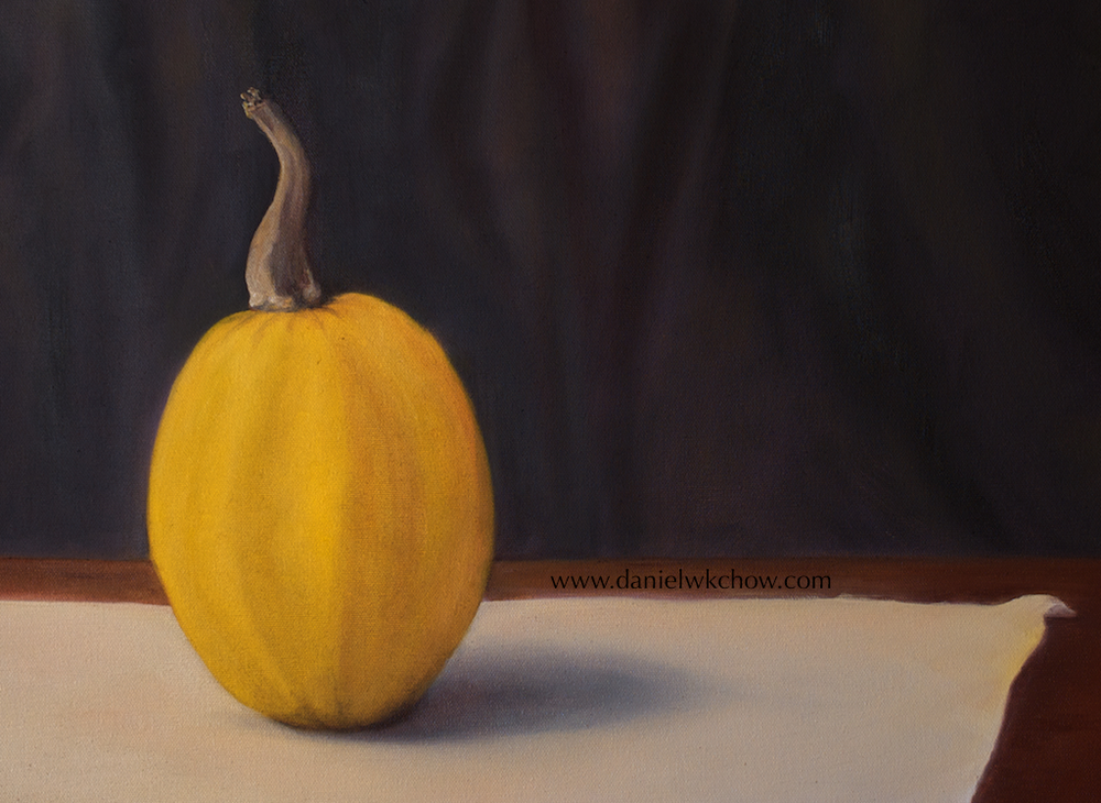 Still life of pumpkin. Oil on cotton.