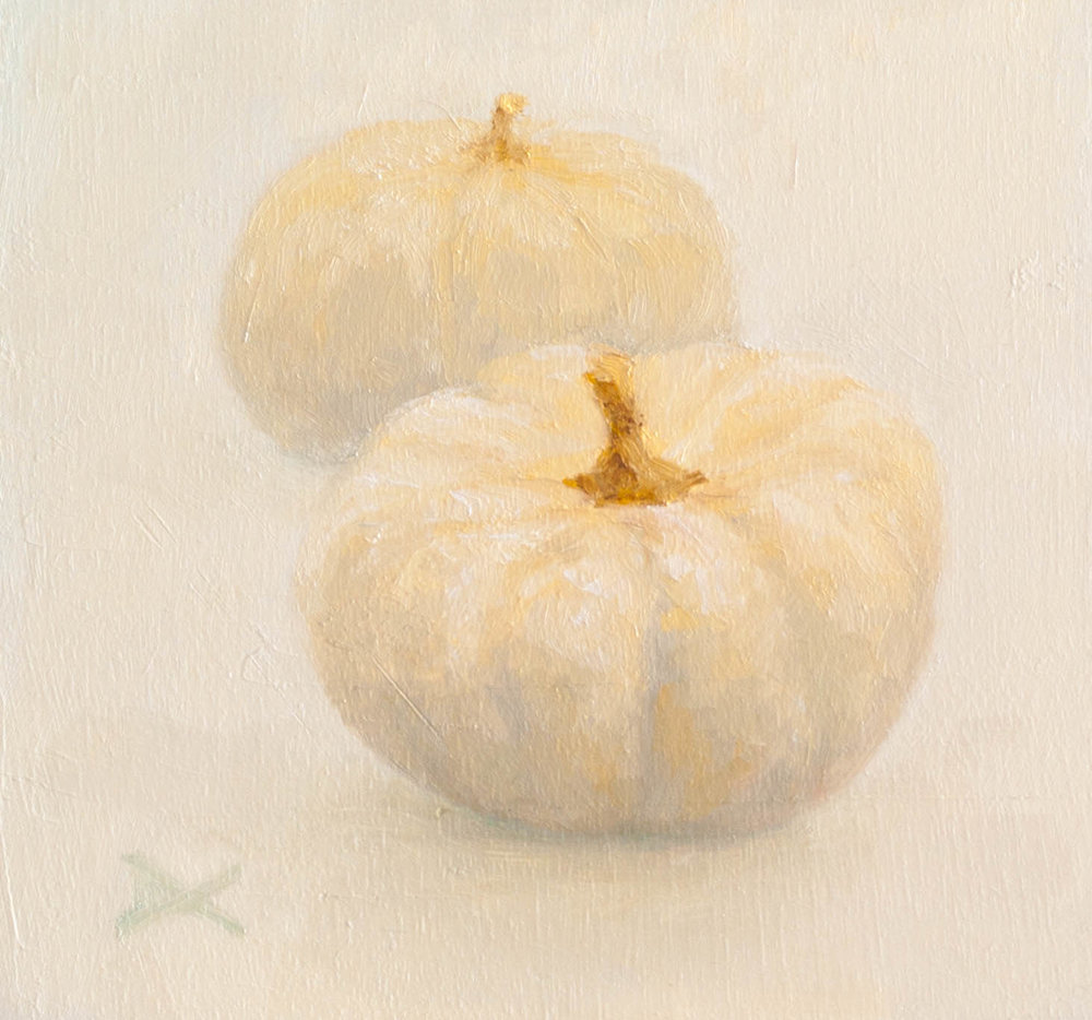 Still Life: Baby Boos. Oil on 6.75 by 7.25 inches panel.$135.