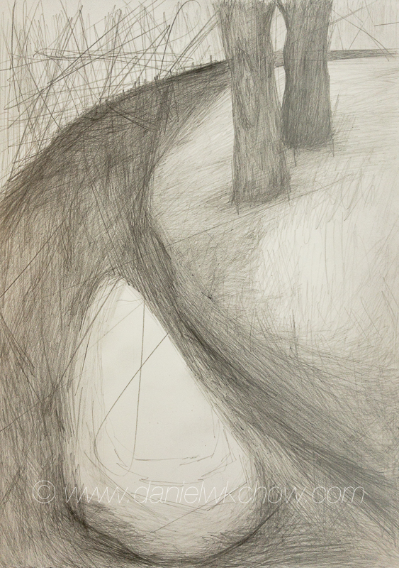 Red Clay Creek: The Bend. Graphite on foam board. 8 by 6 inches.