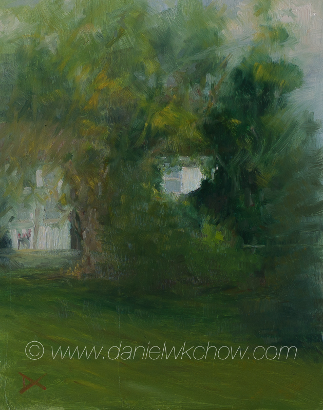 'The Overgrown Backyard. Kennett Square. Oil on panel. 14 by 11 inches. Available, $1,540. Please contact me via the Contact link above.