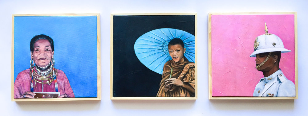 The People We Meet: Thailand, Triptych set, 2017, Acrylic on Canvas, 30 x 30cm, Framed  AVAILABLE