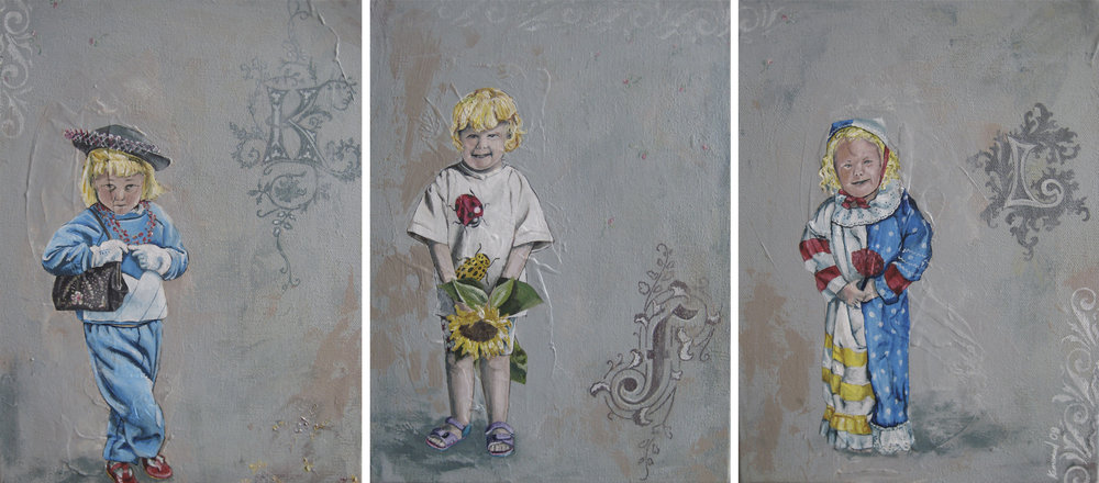 Sisters, Triptych Set, 2010, Acrylic on Canvas,  COMMISSION
