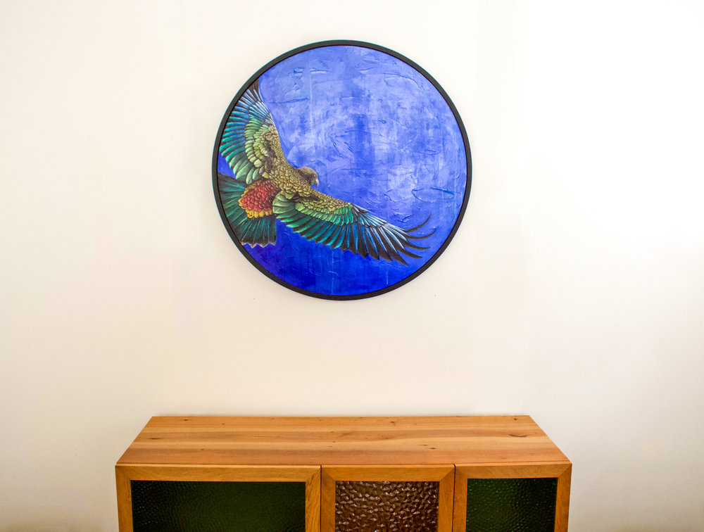 Flight of the Kea, 2018,  Acrylic on Canvas, 750cm diameter, Framed  AVAILABLE